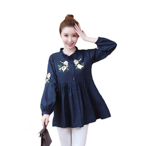 2019 Spring Autumn New Size Women's Long-Sleeved Blouse Medium Loose
