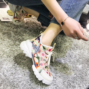 Sneakers Sexy Round Toe Thick Bottom Sports Shoes Women Casual Shoes