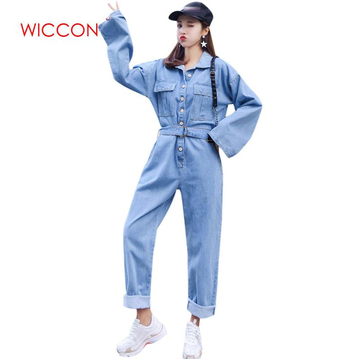 2019 Spring Long Sleeve Bodysuit New Streetwear Style Denim Overalls Women High Waist Jeans Bodycon Romper Wide Leg Jumpsuit