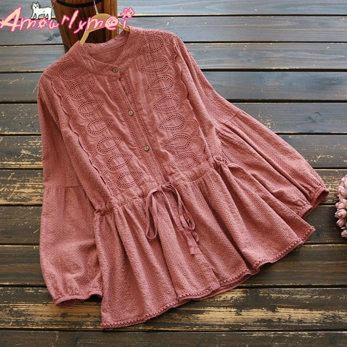 2019 Spring Women Blouse Girl Vintage Lace Stand Collar Long Sleeve