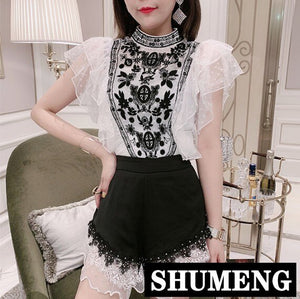 Spring and Summer Heavy Embroidered Flowers Black Lace Shirt Lady