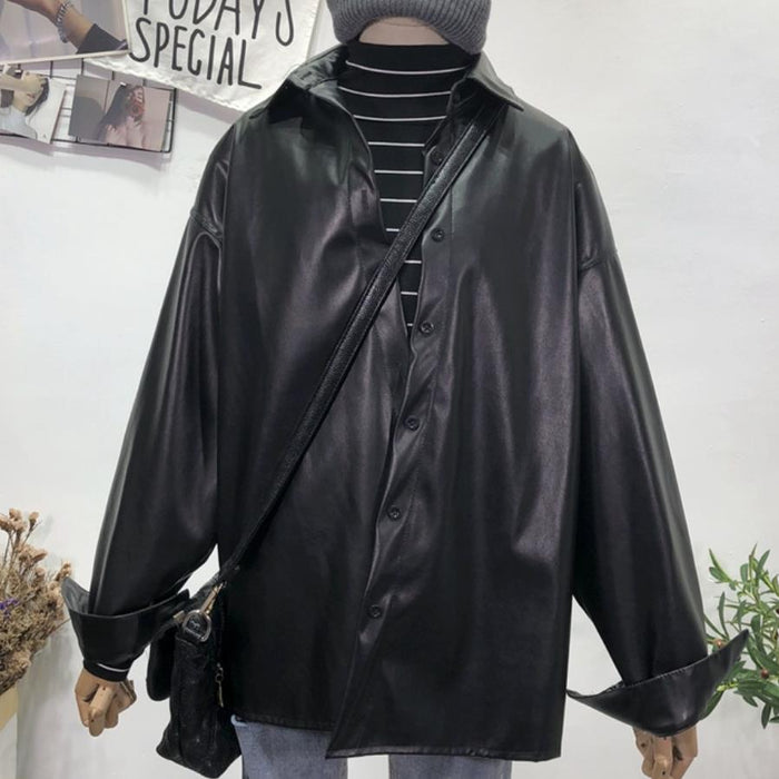 2019 Spring fashion Loose long leather shirt women leather blouse tops
