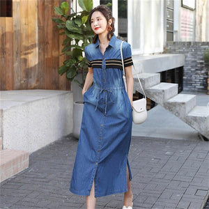 2019 Summer Denim Dress Women Short Sleeve Casual Long Shirt Dresse Korean Style Vintage Jeans Dress Vestidos Robe Femme
