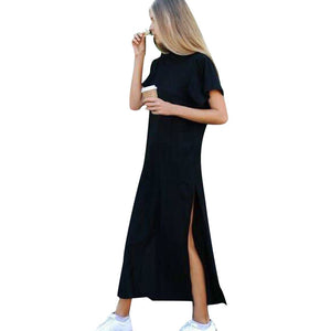 2019 Summer Fashion Casual Brief Solid Long T-shirt Dress Sleevs Women Sexy Side High