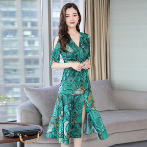 2019 Summer Fashion Women's Clothing Flowers Printing Hollow Out Half Sleeves