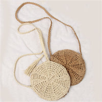 Women Tassels Round Crossbody Shoulder Bag Beach Circular Rattan Wicker Straw Woven Basket Tote bag