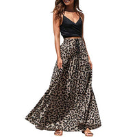 2019 Summer Skirts Womens Leopard Print Long Drawstring Pleated High Waisted Bohemian Maxi SkirtMaxi Long Skirts   25