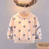 2019 Sweet Autumn T-shirt For Girls Baby Infants Kids Dot Polka Ruffle Long Sleeve Pullover Tops T-shirts Cottom Tee S9517