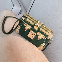Handbags Clutch Retro Women Messenger Bags Panelled Box Bag Rivet Crossbody Shoulder Bags Small