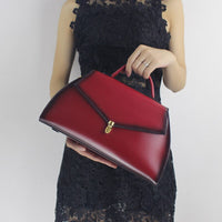 Solid Women Handbags Genuine Leather Doctor Bag Cow Leather Burgundy-red Lady Shoulder Crossbody