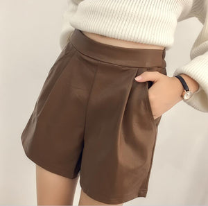 2019 Winter Shorts Women Elastic Waist PU leather Casual Shorts
