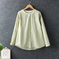 Women Autumn Sweet Round Collar Long Sleeve Hollowed Out Shirt  Cotton Shirt Cardigan Tops