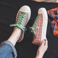 Canvas Shoes Sneakers Lace Up Plaid Girls Spring Shoes Check Pink Sneakers