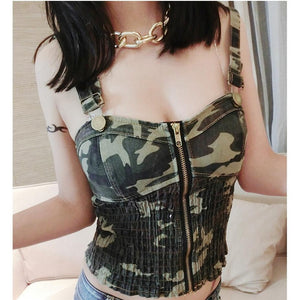 2019  Women Fashion sexy camouflage shirts sleeveless tops cropped vintage denim