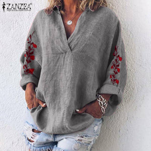 Autumn Vintage Cotton Shirts Casual V-Neck Long Sleeve Loose Tunic Tops Femme Blusas