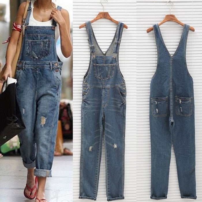 2019 Women Girl Washed Denim bodysuit Ladies Casual Jeans Hole Rompers Womens Jumpsuit Overalls #16 Denim Jumpsuits