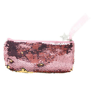 2019 Women Girls Fashion Double Color Sequins Pen Bag Storage Bag Ladies Purse Pouch transparent bag travel organizer  bag