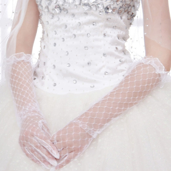 2019 Women Lace Bridal Long Gloves Elbow Length Full Finger Wedding