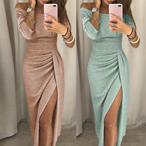 2019 Women Off Shoulder High Slit Dress Sheath Half Solid Bohemian Bodycon Dress