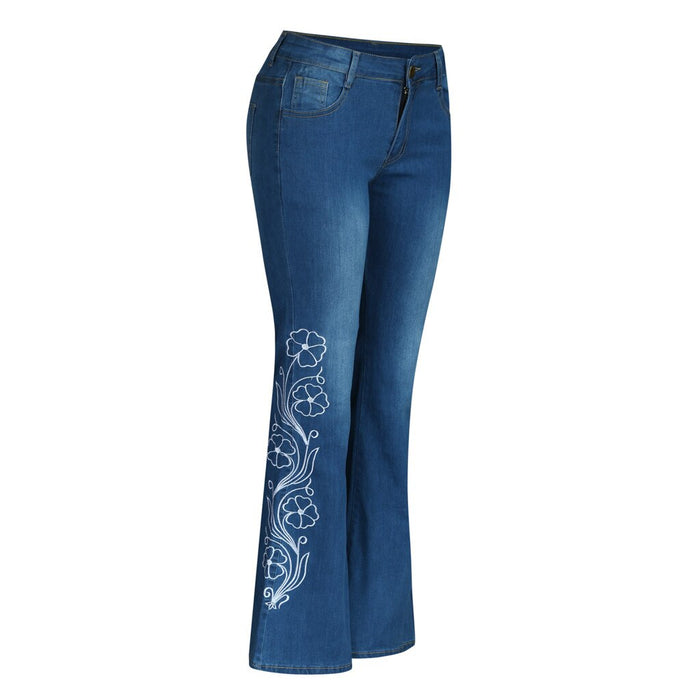 ladies pants high waist embroidery jeans button pocket printing pants  flare pants
