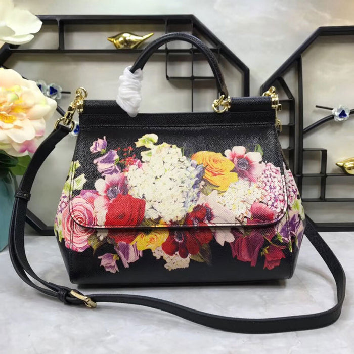 2019 new genuine leather color printing graffiti fashion female laptop Shoulder Messenger Bag