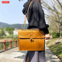 new women briefcase female retro computer handbag thin section
