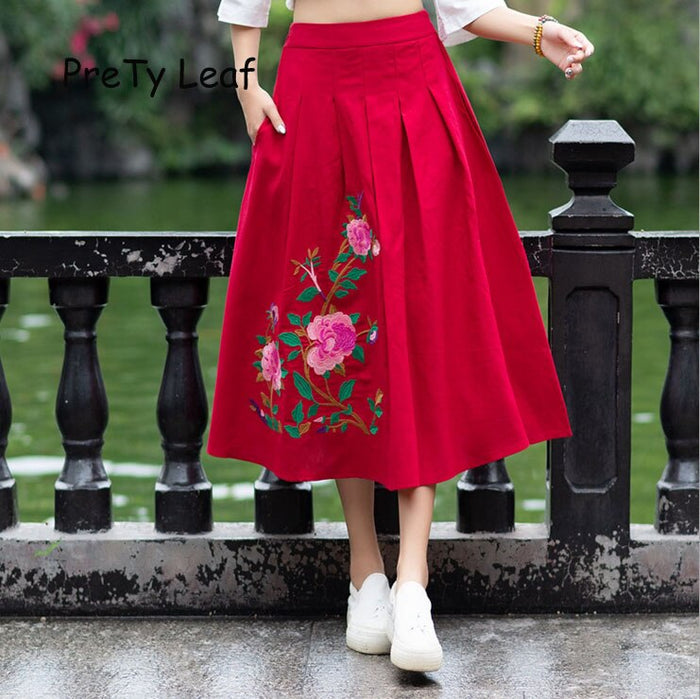 2019 spring cotton and linen national wind embroidered skirt
