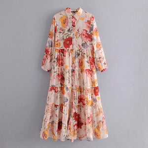 2019 women chic floral print casual loose long dress ladies pleats chiffon vestidos streetwear button party dress