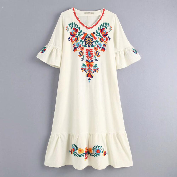 women national style v neck flower embroidery hem ruffles long dress