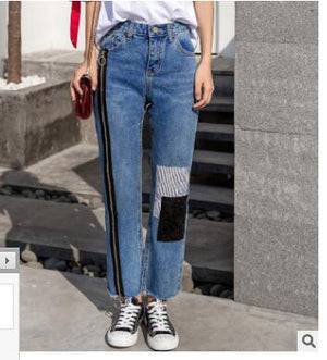 2019new spring street hip-hop women zipper color paste patch denim trousers fringed trousers straight leg