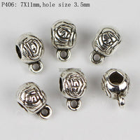 20pcs/lot Antique Silver Color Charm Bail Beads Pendant Clips Clasps Connectors For Bracelet Necklace Jewelry Making Findings