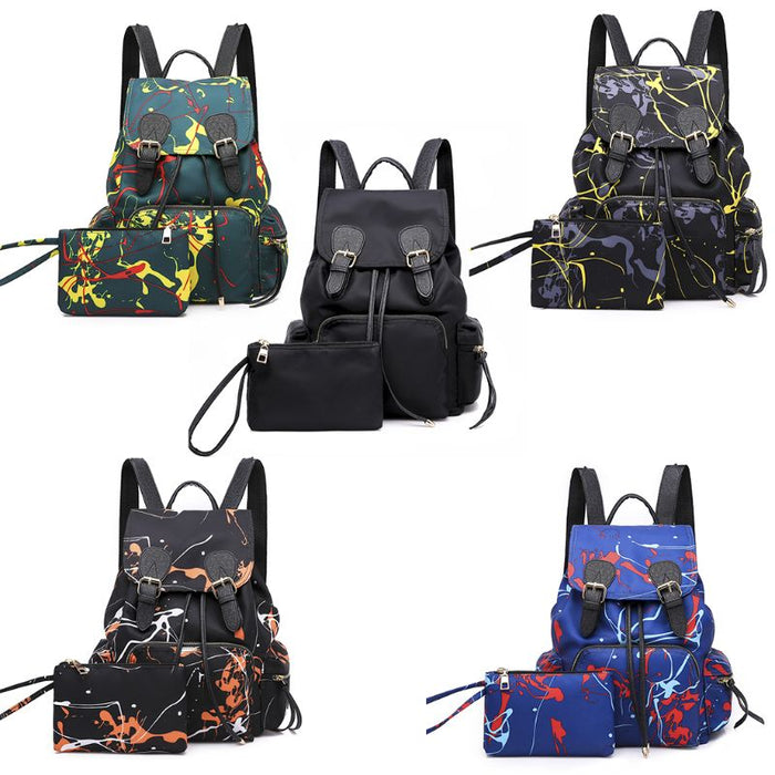 2PCS Fashion New 2019 Unisex Backpack School Shoulder Bag Trekking Rucksacks Nylon Travel Dayback Casual Bookbag