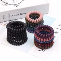 2PCS Frosted Colored Telephone Wire Elastic Hair Bands For Girls Headwear