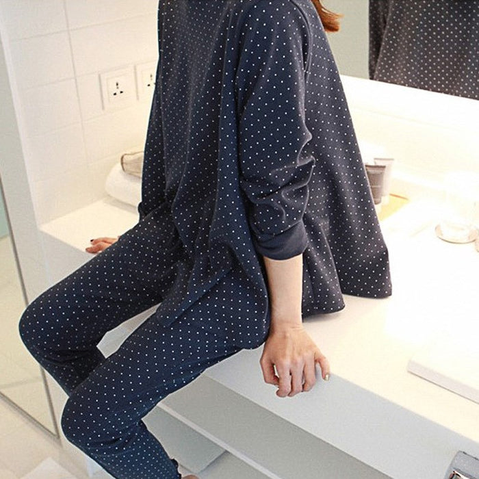 White Dot Print Pajamas Sets Women Casual Cotton Long Sleeve Sleepwear 2