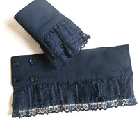 Women Girls Decorative Chiffon Fake Flare Sleeves Floral Lace Pleated Ruched False Cuffs
