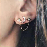 2Pcs/Set Rhinestone Moon Star Chain Stud Earrings 3 Ear Holes Silver Gold Colors Women Earring Set 2019 Party Jewelry
