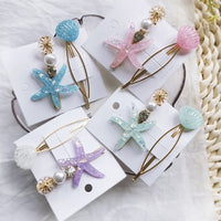 2Pcs/set Imitation Pearl Retro Metal Barrettes Starfish Hair Grip Shell Hairpin