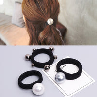 2pcs Girls Large Size Pearl Elastic Hair Rubber Bands Hair Accessories Gum