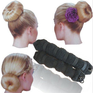 2pcs Women Hair Styling Former Magic Sponge Bun Maker Donut Ring Shaper Foam Braider Tool For Girl's DIY Hair Style