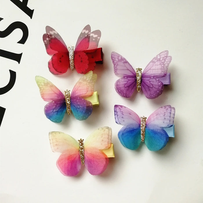 2pcs/lot Summer Printing Butterfly Kid Hair Clip Cute Girls Gauze Multicolor