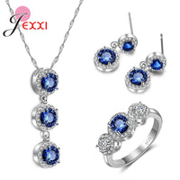 3 PCS Jewelry Sets For Women Wedding Real 925 Sterling Silver  Necklace Earring Rings Accessories Filled Blue CZ Crystals