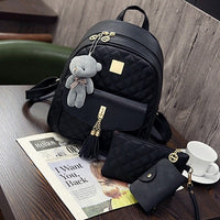3 Pcs Bear Backpack Women Bag Diamond Lattice School Bags For Girls Backpacks For Women 2019 New Tassel Shoulder Bags Sac A Dos