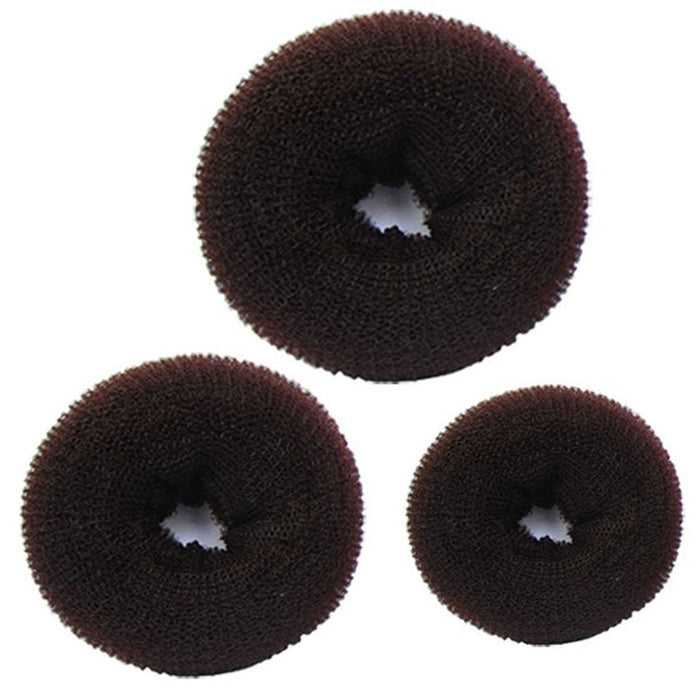 3 Pcs Sponge Braider Women Hair Bun Ring Donut Shaper Maker 3 Sizes Coffee Hair clips