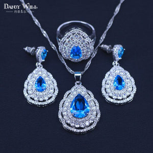 3 Piece 925 Silver Costume Jewelry Set Green Cubic Zirconia Paved Water Drop Earring Necklace Ring Jewelry Set For Women T73