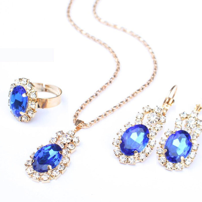 3 Piece Suit Fashion Wedding Party Jewelry Set Oval Water Drop Pendant Color Gem Stone Earrings Ring Necklace Jewelry wholesale