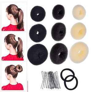 3 pcs Donut Bun Maker Hair Bun Maker Ring Style Bun Maker Set for Chignon Hair Includes Large Medium and Small Hari Accessorie