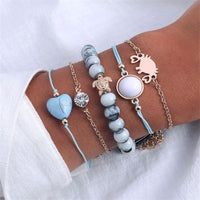 30 Mixed Turtle Marble Lotus Heart Bracelet Set Bohemian Women Multi-layer Beaded Bracelet Vintage Tassel Bracelet Wholesale