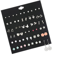 30 Pairs/set Vintage Silver Metal Alloy Small Earrings For Women Girl Kids Jewelry Trendy Animal Bird Owl Stud Earrings Set Mix