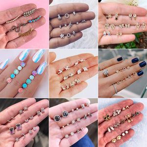 30 Styles Boho Crystal Moon Stars Cross Geometry Stud Earrings Set for Women Punk