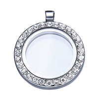 30mm Silver Floating Round Magnet Locket Pendant Charms Memory Photo frame Locket Necklace For Women new year gift
